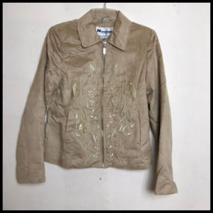 Soft Light Embroidered Faux Suede Zip Jacket